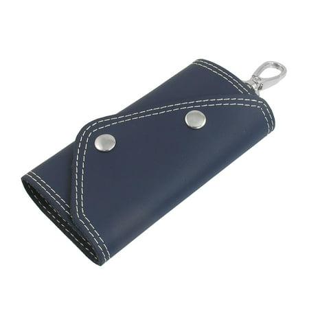 Unique BargainsPress Stud Closure Faux Leather Key Keychain Holder Case Bag Blue Djayh