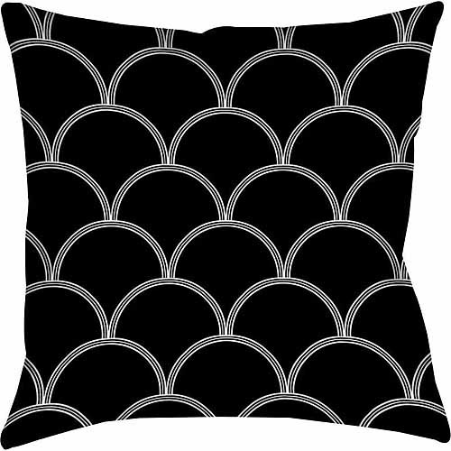 IDG Art Deco Circles Black and white Indoor Pillow