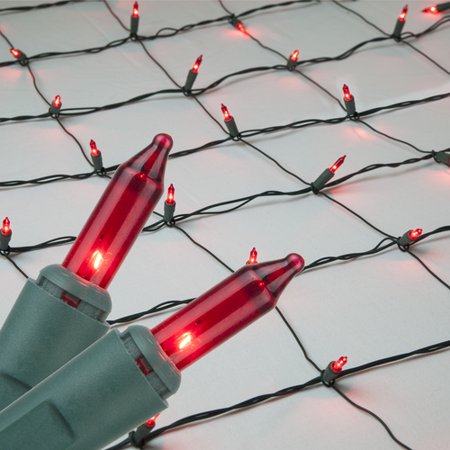 4 x 6 Red Christmas Net Lights, 150 Lamps on Green Wire