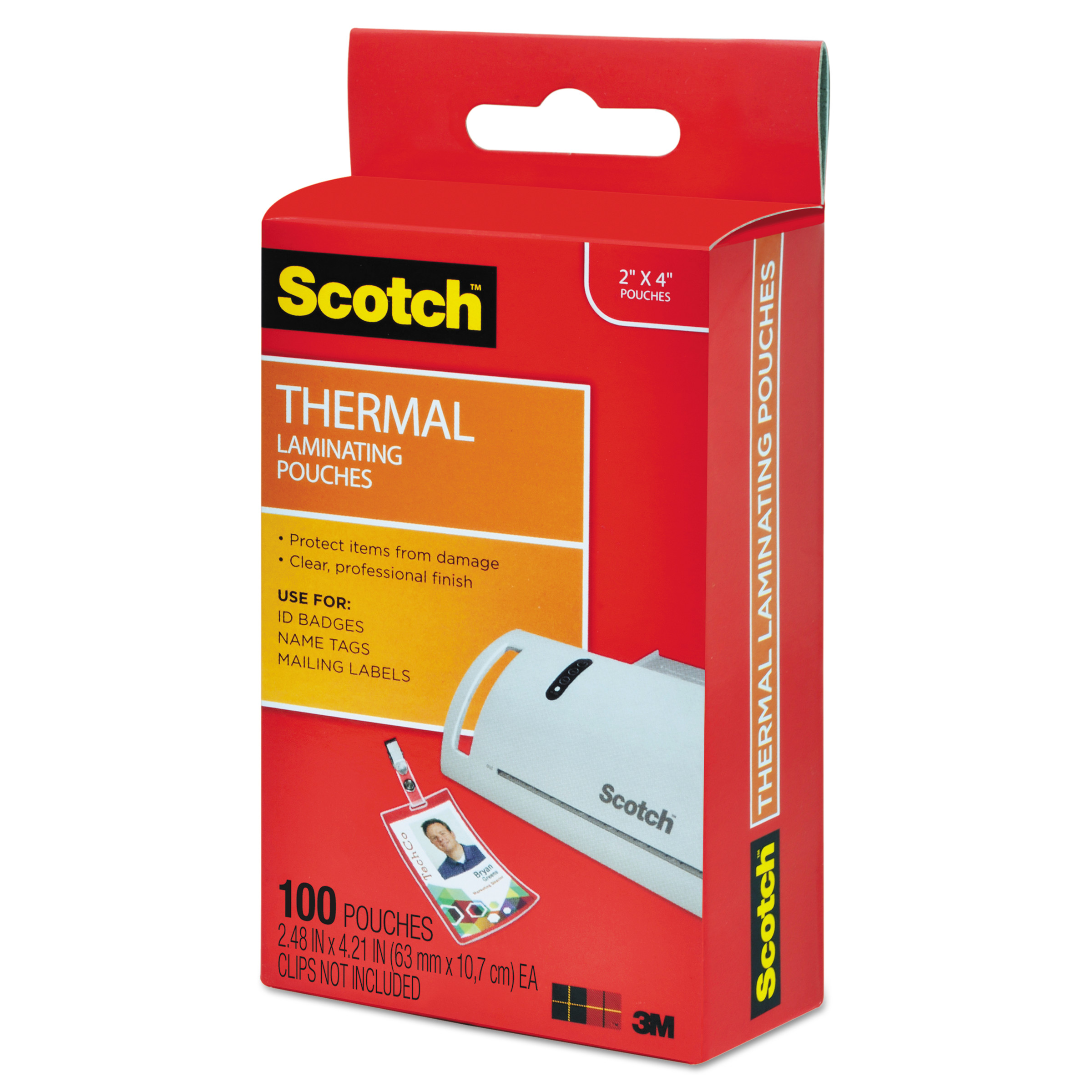 Scotch ID Badge Size Thermal Laminating Pouches, 5 mil, 4 1/4 x 2 ...