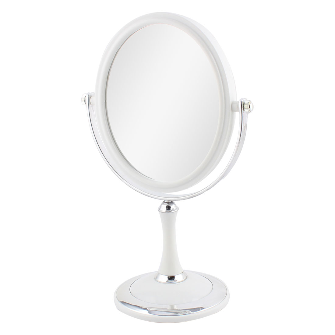 Women Plastic Oval Classical Style Dual Sided Magnifying Makeup Mirror White