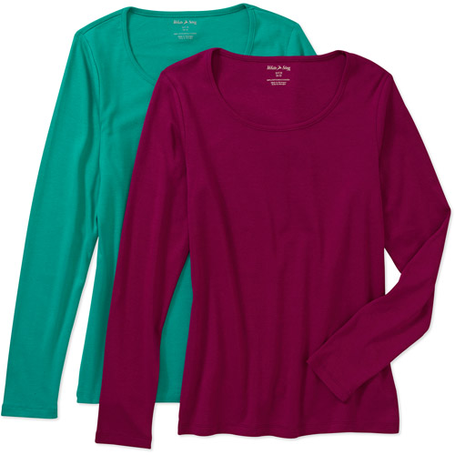White Stag Women's Long-Sleeve Scoop T-Shirt, 2-Pack