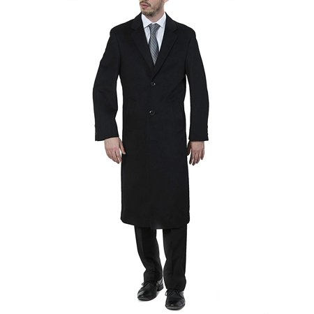 Adam Baker Men's Single Breasted Solid Black (40811) Luxury Wool Full Length Topcoat, Size 40 Short