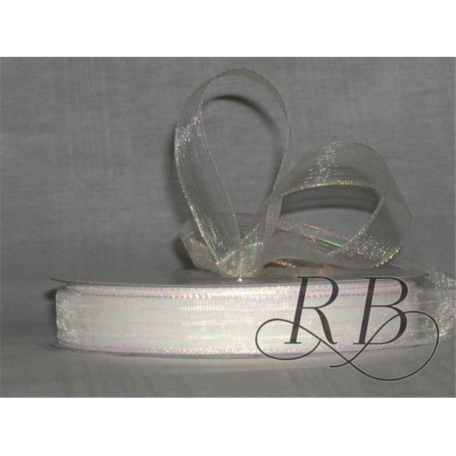 Ribbon Bazaar 1492 0.63 in. Corsage Ribbon, White Iridescent - 50 Yards