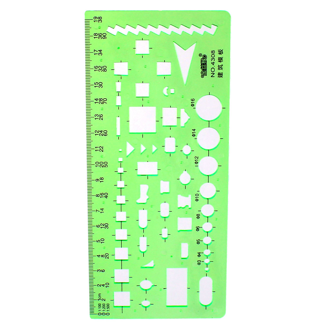 Office Building Design Figures Drawing Stencil Template Ruler Clear Green