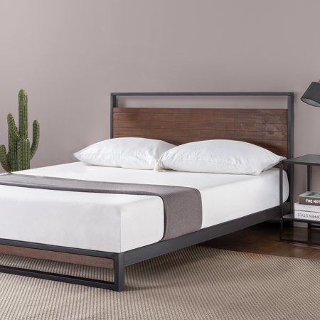 Zinus Suzanne Metal and Wood Platform Bed with Headboard ()