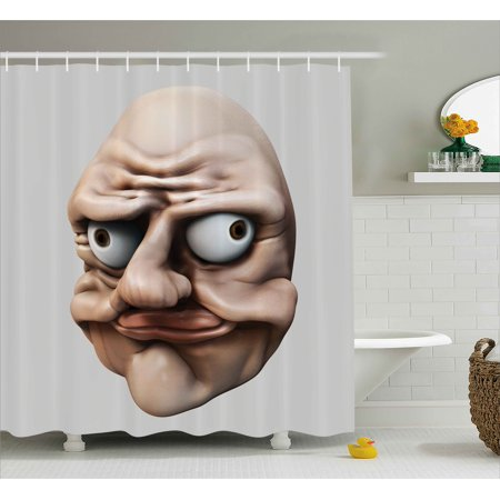 0087650f4b82 Humor Shower Curtain, Grumpy Internet Troll Face with Trippy Gestures Ugly  Post Meme Joke Image, Fabric Bathroom Set with Hooks, Egg Shell and Tan, by  ...