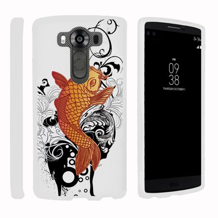 LG V10 | G4 Pro, [SNAP SHELL][White] 2 Piece Snap On Rubberized Hard White Plastic Cell Phone Case with Exclusive Art -  Koi - Fish Mobile
