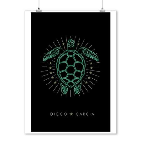 - Diego Garcia, Indian Ocean - Neon Turtle - Lantern Press Artwork (9x12 Art Print, Wall Decor Travel Poster)