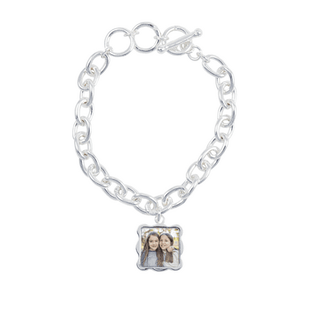 Sterling Silver Plated Wave Photo Bracelet Charm