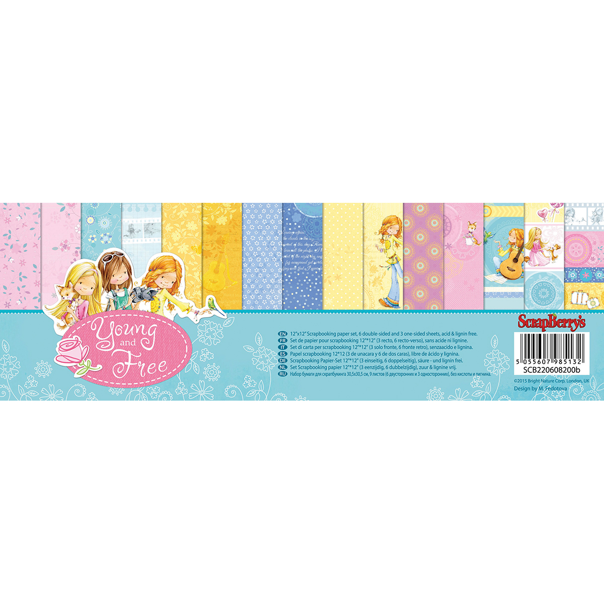 """ScrapBerry's Young And Free Paper Pack 12""""X12"""" 9/Pkg-6 Double-Sided & 3 Single-Sided"""