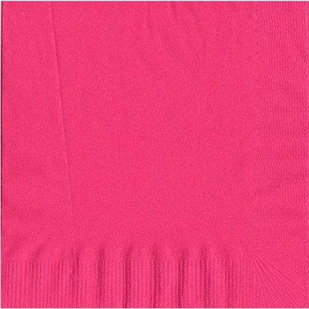 200 -  (4 Pks of 50) 2 Ply Plain Solid Colors Luncheon Dinner Napkins Paper - Hot Pink (Hot Pink Dinner Napkins)