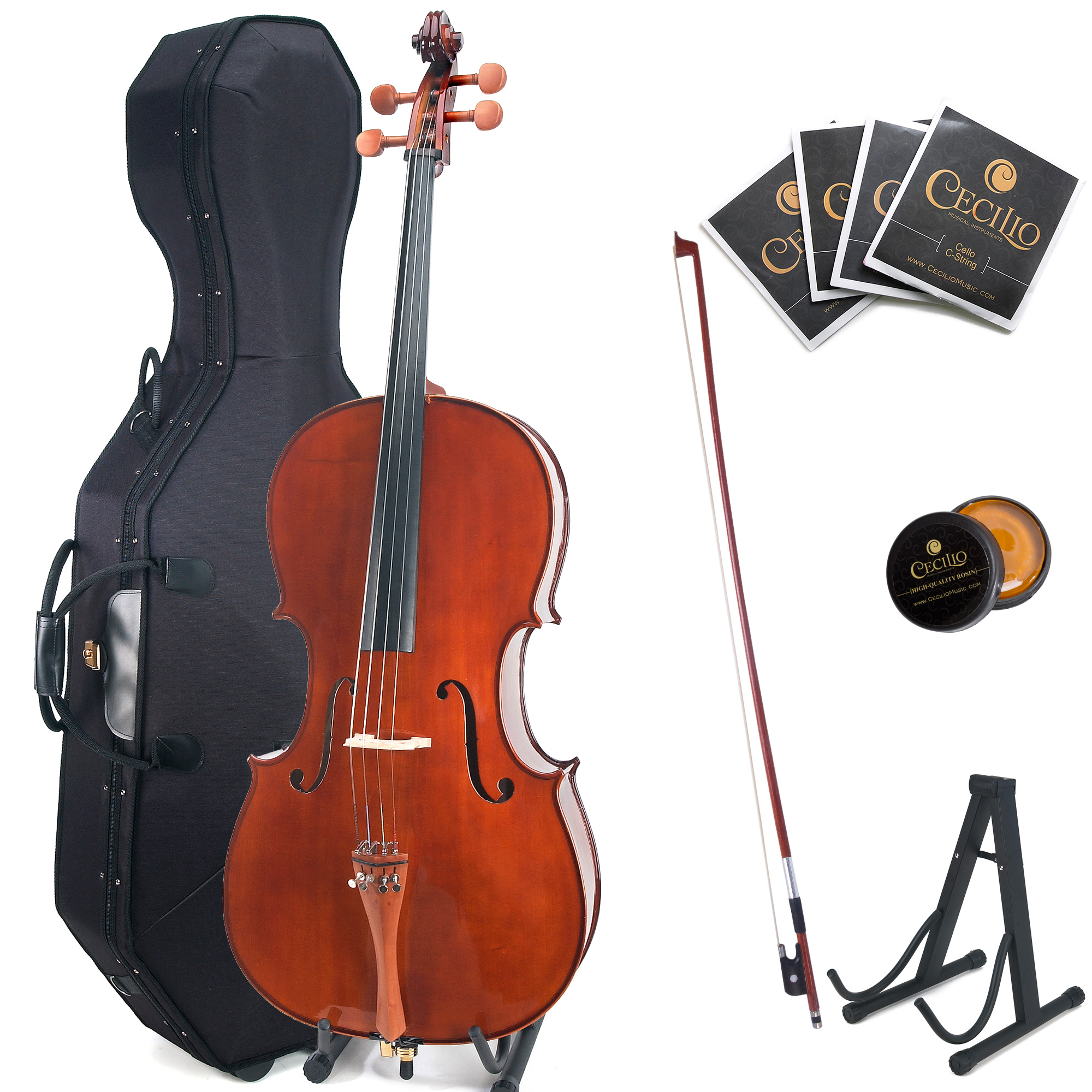 Cecilio 4/4 CCO-300 Solid Wood Cello with Hard and Soft Case, Stand, Extra Strings, Bow, Rosin and Bridge, Full Size 4/4