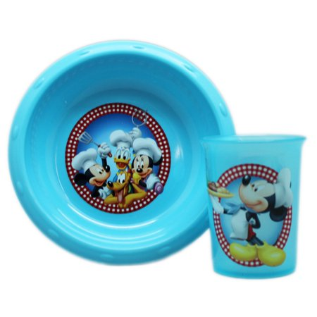 Mickey Mouse Bowls (Disney's Mickey Mouse and Friends Light Blue Kids Bowl and Cup)
