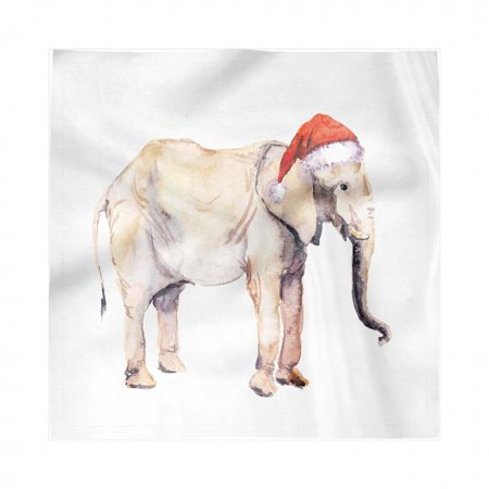 Watercolor Elephant Napkins Set of 4, Christmas Animal with Santa Claus Hat New Year Noel Theme, Silky Satin Fabric for Brunch Dinner Buffet Party, by Ambesonne ()