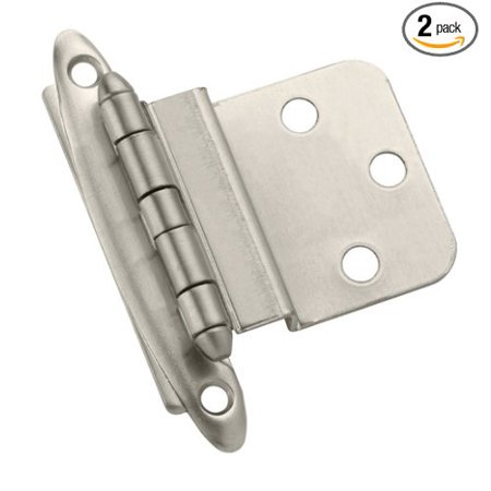 BP3417G10 Non Self-Closing, Face Mount Hinge with 3/8in(10mm) Inset - Satin Nickel - 2 Pack, 3/8 in (10 mm) in set Hinge By Amerock Ship from US