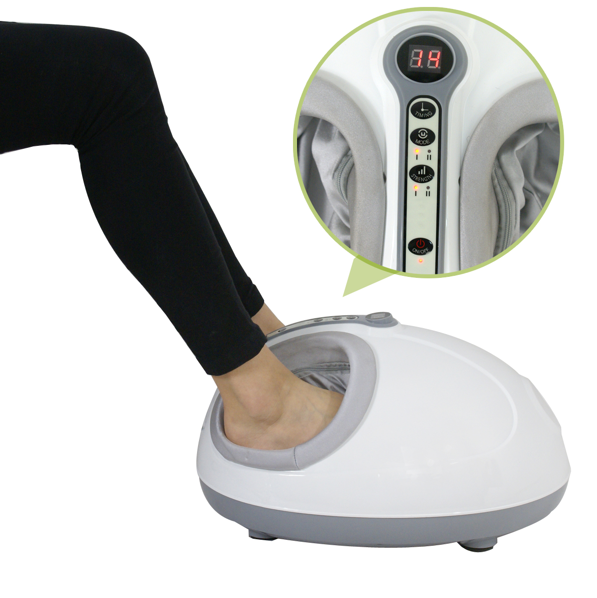 Zeny Electric Foot Massager Shiatsu Kneading Rolling Vibration LED Display Air Pressure Relax 110v