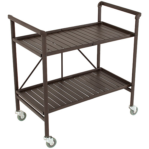Cosco Outdoor Folding Metal Slat Serving Cart, Sandy Brown