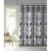 Luxury Home 100 Percentage Cotton Mariah Shower Curtain, Black - 72 x 72 inch