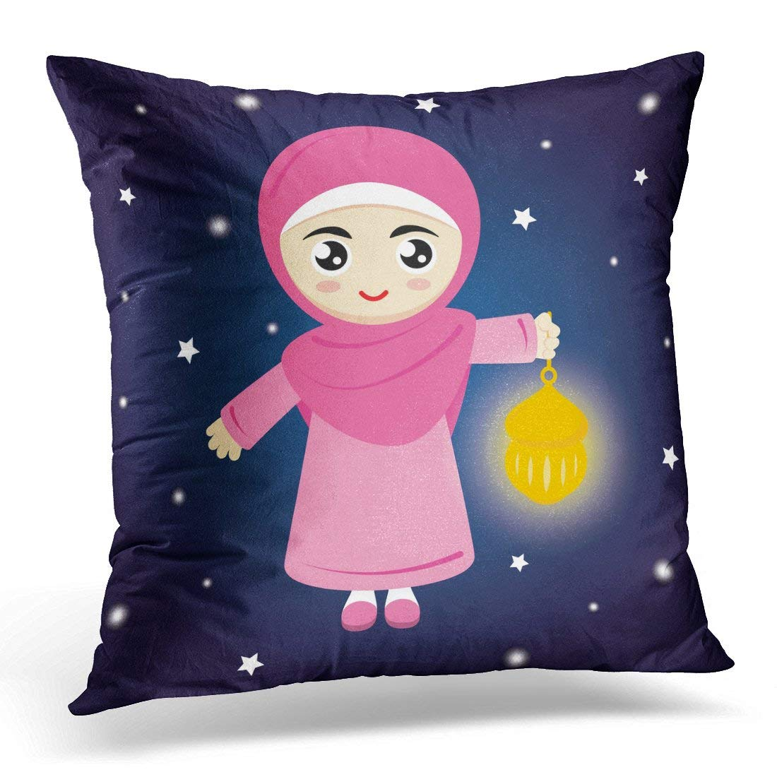 USART Pink Hijab Happy Little Girl Hold Lamp on Blue at Night Kids Pillow Case Pillow Cover 20x20 inch