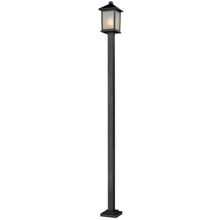 Image of Z-Lite-537PHB-536P-BK-Holbrook - One Light Outdoor Post Black Finish with White Seedy Glass