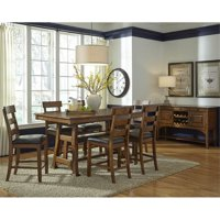 A-America Ozark 8 Piece Counter Height Dining Set in Warm Pecan