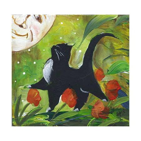 Tuxedo Cat Art - Tuxedo Cat With Moonface & Tulips Print Wall Art By sylvia pimental