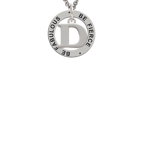 Large Initial - D - Be Fierce Be Fabulous Affirmation Ring Necklace