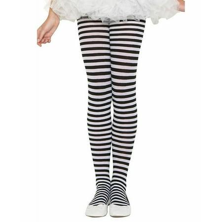 Music Legs Black & White Striped Children Nylon Costume Tights Pantyhose SM-XL - image 1 of 1