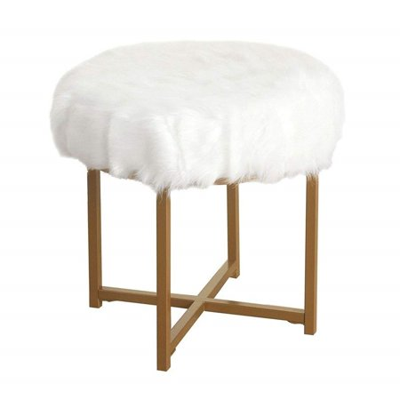 - GHP 250-Lbs Capacity White Soft plush Faux Fur Gold Metal Base Accent Vanity Chair