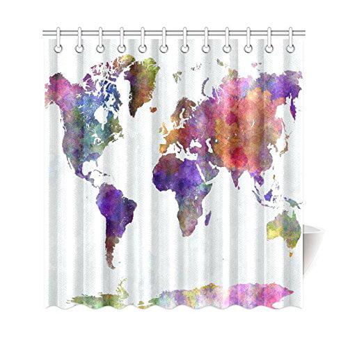 GCKG Watercolor Globe Art Shower Curtain World Map Polyester