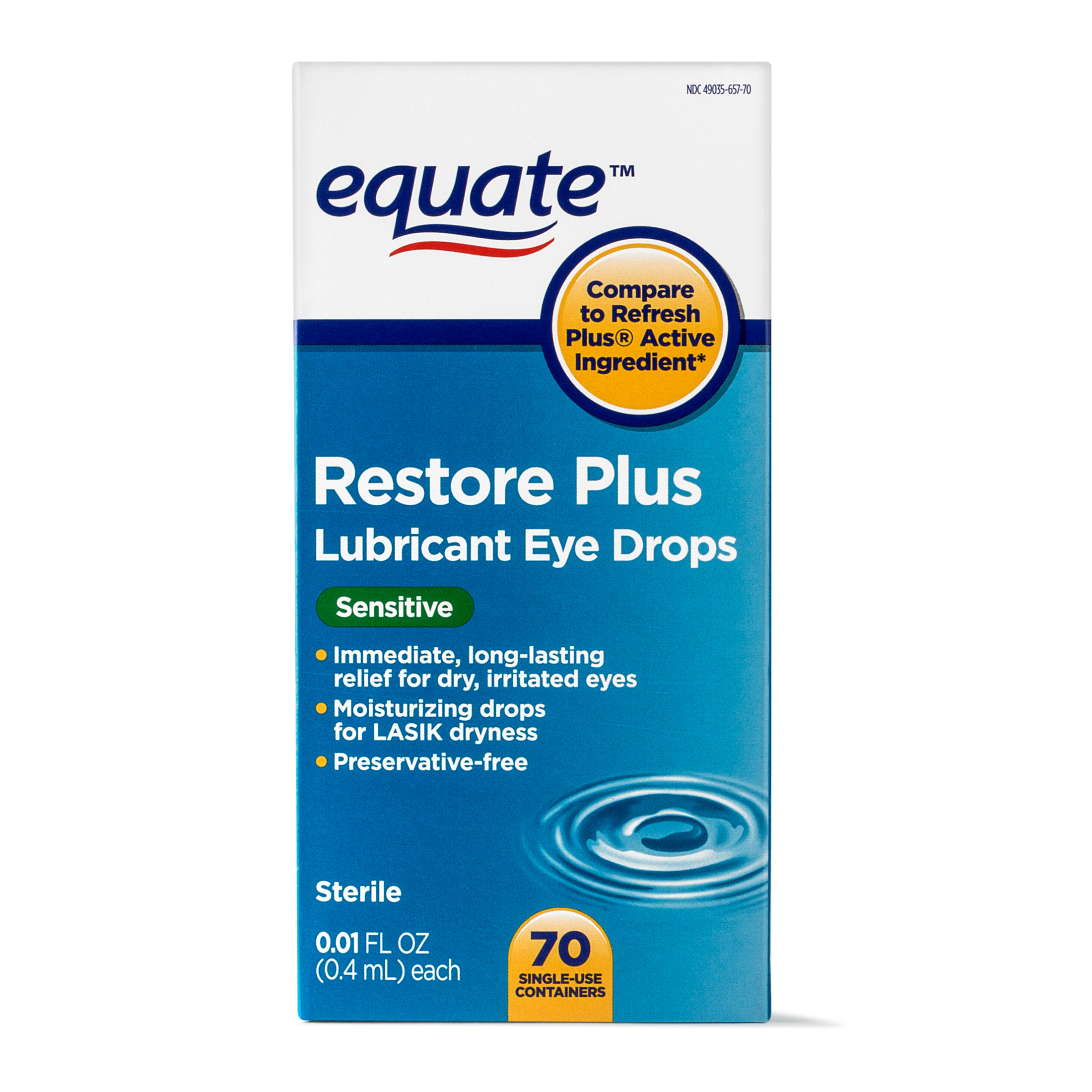 Equate Restore Plus Lubricant Eye Drops, For Lasik Dryness, 70 ct.