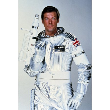 Roger Moore in Moonraker James Bond space suit & gun studio pose Union Jack flag 24x36 Poster - Guns In Space