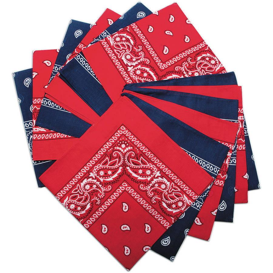 Bandanas, Red/Blue Western, Pack of 12