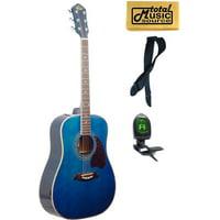 OG2 Oscar Schmidt Dreadnought Acoustic Guitar, Washburn, Blue, NEW - OG2TBL COMP