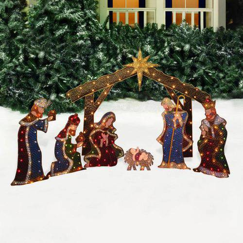 Holiday Time Nativity Set with Manger Light Sculpture, 7-Piece Set