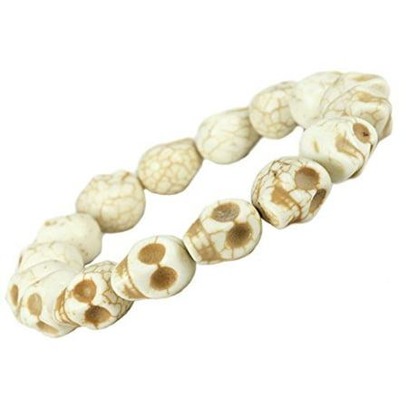 - Fashion Jewelry White Created-turquoise skull stretch bracelet - women men - sk010