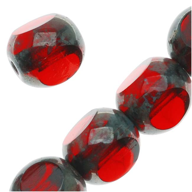 Czech Glass Triangular Table Cut Window Beads 8mm 'Siam Ruby' (12)