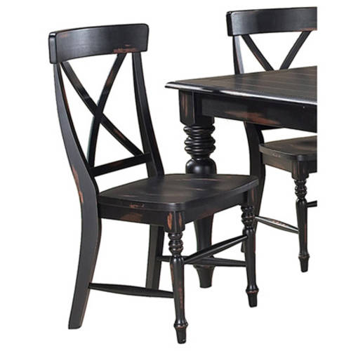 Imagio Home Roanoke X-Back Dining Side Chairs, Set of 2, Rubbed Black