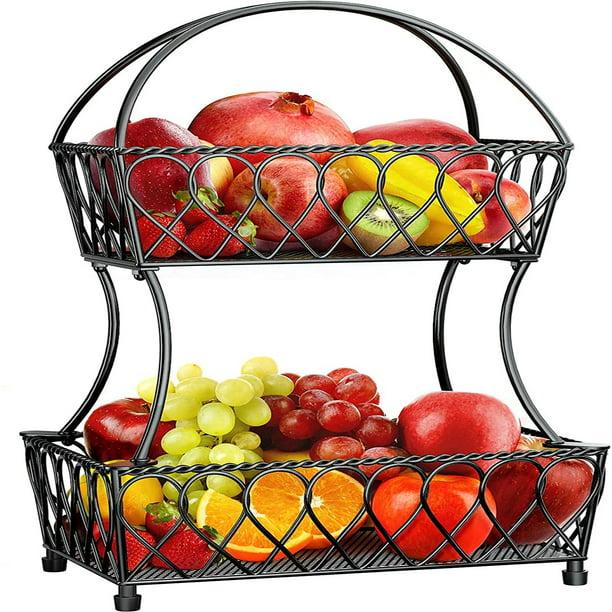 PERLESMITH 2-Tier Fruit Basket Bowl Vegetable Organizer for Kitchen (Vintage Black)