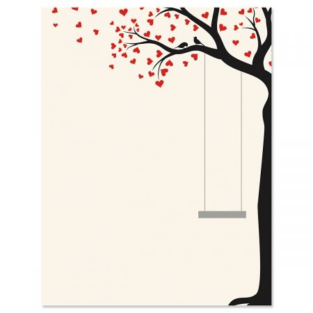 Heart Tree Swing Letter Papers - Set of 25 Valentine'stationery papers are 8 1/2