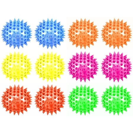 Set of 12 Light Up LED 'Mini Spiked Ball' Squeaking Squeezable Children's Kid's Toy Ball (Colors May Vary), Set of 12 Light Up LED 'Mini Spiked Ball' Squeaking.., By Velocity -
