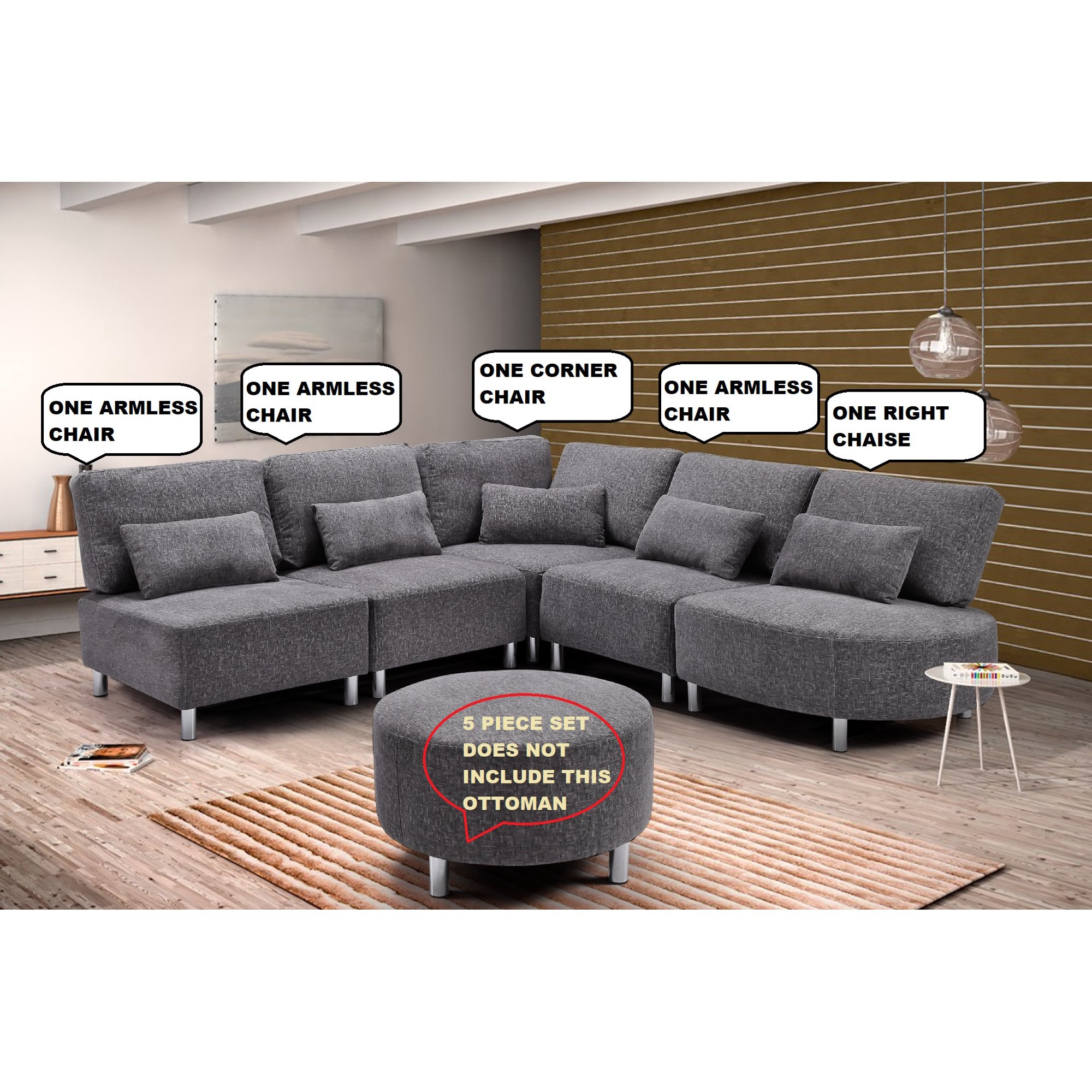 Home Office Grey Sectional Sofa Set