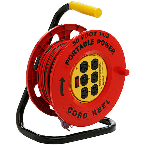 Designers Edge 14 3-Gauge 50' Cord Reel Power Station with 6 Grounded Outlets, Black and Red by Coleman Cable