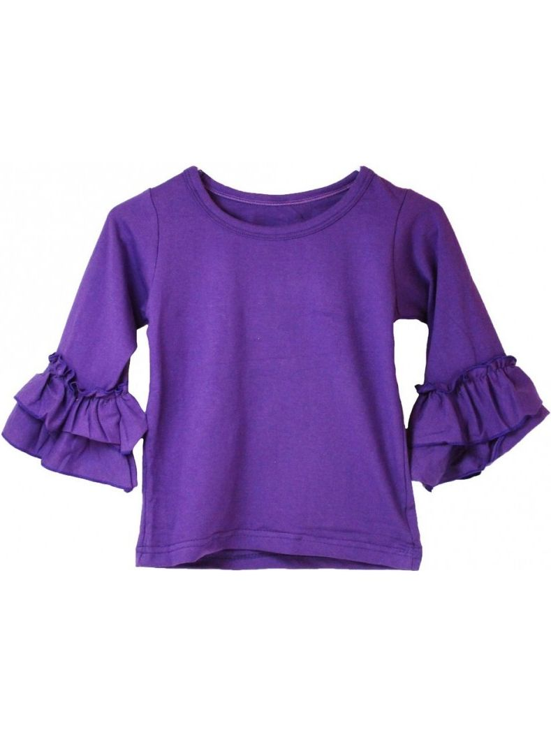 Girls Purple Double Tier Ruffle Sleeved Cotton Spandex Top 12M-7