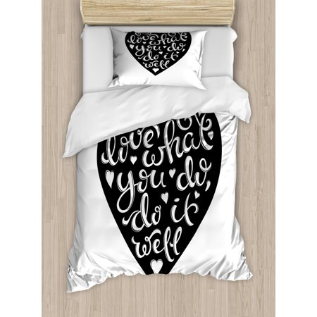 Love What You Do Duvet Cover Set, Hand Drawn Lettering with Monochromatic Heart Love Work Theme, Decorative Bedding Set with Pillow Shams, Charcoal Grey and White, by Ambesonne ()