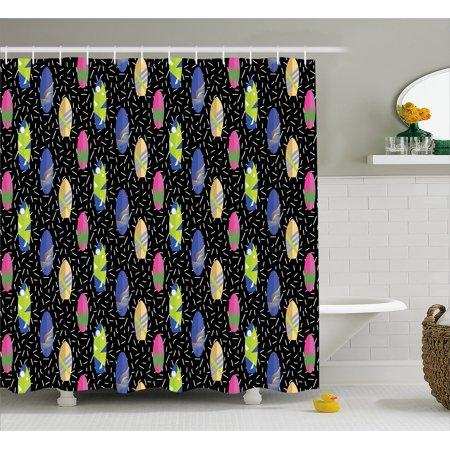 Surfboard Shower Curtain, Colorful Boards in Memphis 80s Retro Style Abstract Summer Themed Fun Pattern, Fabric Bathroom Set with Hooks, 69W X 75L Inches Long, Multicolor, by Ambesonne