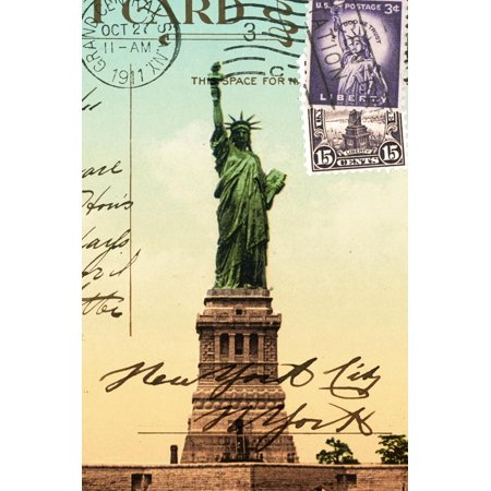 Statue of Liberty, New York Vintage Postcard Collage Print Wall Art By Piddix