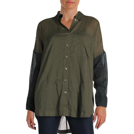 e2b39007d503f Free People - Free People Womens Colorblock Long Sleeves Button-Down Top -  Walmart.com