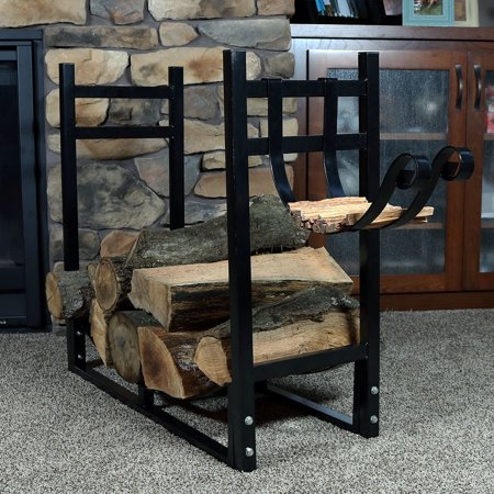 Sunnydaze Indoor/Outdoor Firewood Log Rack with Kindling Holder, Fireplace Wood Storage Stand, 33 Inch Wide x 30 Inch, Black ()